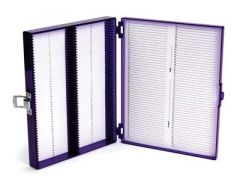 Fisherbrand Microscope Slide Box Polycarbonate 100-Place, Purple