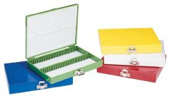 FB Premium Microscope Slide Box, 100-Place, Foam, Yellow