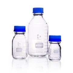 DURAN® protect, Laboratory bottle, plastic coated, GL 45, 750 ml with screw-cap and pouring ring (PP)