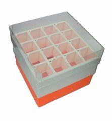 Argos Technologies™ PolarSafe™ Polypropylene Freezer Boxes, Orange; 50mL box; Holds 16 tubes