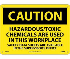 National Marker™ Caution Hazardous Toxic Chemicals Are Used Signs