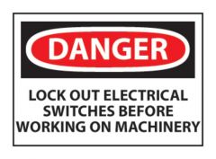 """National Marker™ """"Danger: Lock-out Electrical Switches..."""" Signs"""