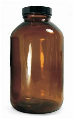 Qorpak™ Amber Wide Mouth Packer Bottles with with Black Phenolic Pulp/Vinyl Cap