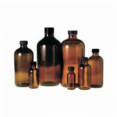 Fisherbrand™ Amber Boston Round Bottles with Black Phenolic Rubber Cap