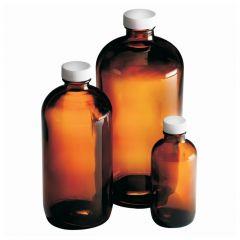 Fisherbrand™ Amber Boston Round Bottles with White Polypropylene PE Foam/PTFE Cap