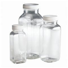 Fisherbrand™ Clear French Square Bottles with White Polypropylene PE Foam/PTFE Cap