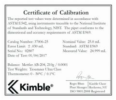 DWK Life Sciences Kimble™ KIMAX™ Reusable Class A Volumetric Serialized Pipets, TD
