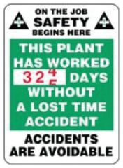 Accuform Signs Turn-A-Day Scoreboard Signs