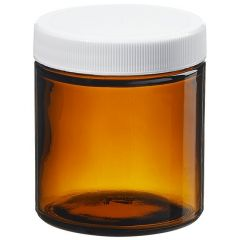 Thermo Scientific™ I-Chem™ Wide-Mouth Short-Profile Amber Glass Jars with Closure, 120mL, processed