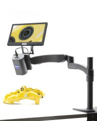 Autofocus HDMI camera on industrial stand, with screen, multi-plug