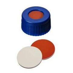 La-Pha-Pack™ 9mm PP Short Thread Seal, Center Hole, Assembled Septum, Blue, Beige, Red-Orange