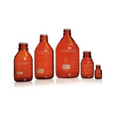 DURAN PURE bottle, amber, graduated, GL 45, with dust cover, without cap and pouring ring, 500 ml