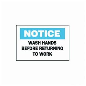 Brady™ Personal Hygiene Signs: Wash Hands Before Returning To Work