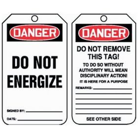 Accuform Signs OSHA Danger Safety Tag