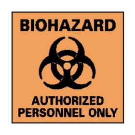 National Marker™ Square Biohazard: Authorized Personnel Only Sign