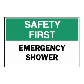 "Brady™ ""Safety First"" Emergency Shower Signs"