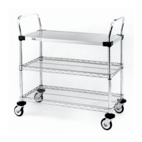Metro™ MW Series Utility Cart with Solid and Wire Shelves