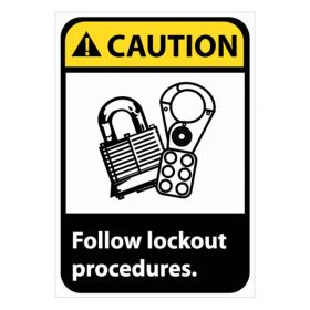 National Marker™ Caution: Follow Lock Out Procedures Signs