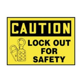 Accuform Signs Caution Lock Out for Safety Labels