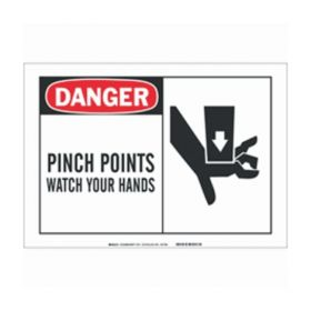 Brady™ Alert Sign:s DANGER - PINCH POINTS WATCH YOUR HANDS (w/Picto)