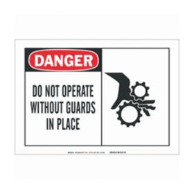Brady™ Alert Signs: DANGER - DO NOT OPERATE WITHOUT GUARDS IN PLACE (w/Picto)