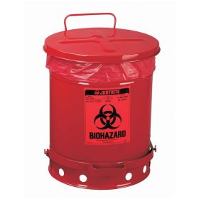 Justrite™ Biohazard Waste Cans with Foot-operated Self-closing Cover