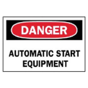 Brady™ Machine and Operational Signs: Automatic Start Equipment