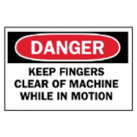 Brady™ Machine and Operational Signs: Keep Fingers Clear of Machine