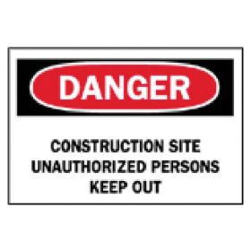 Brady™ Temporary Signs: Construction Site Unauthorized Persons Keep Out