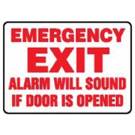 Accuform Signs Fire Safety Signs: Exit Alarm Will Sound