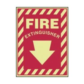 Accuform Signs Fire Extinguisher (with down arrow) Sign