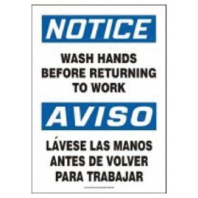 Accuform Signs Safety Signs, Bilingual: Wash Hands