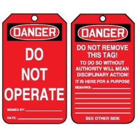 Accuform Signs Danger: Do Not Operate Tag