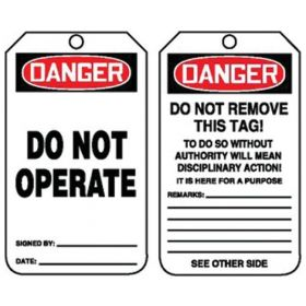 Accuform Signs Danger: Do Not Operate Tags