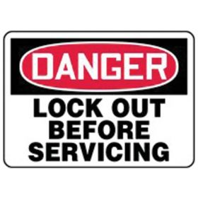 Accuform Signs Danger: Lock Out Before Service Signs