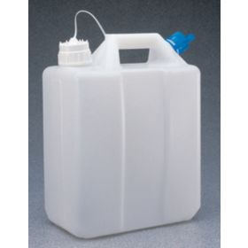 Thermo Scientific™ Nalgene™ 13L HDPE Jerrican with Tethered Polypropylene Closure, double port